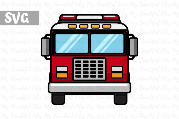 Download Free Firefighter Fire Engine Front Icon Graphic By Mybeautifulfiles for Cricut Explore, Silhouette and other cutting machines.