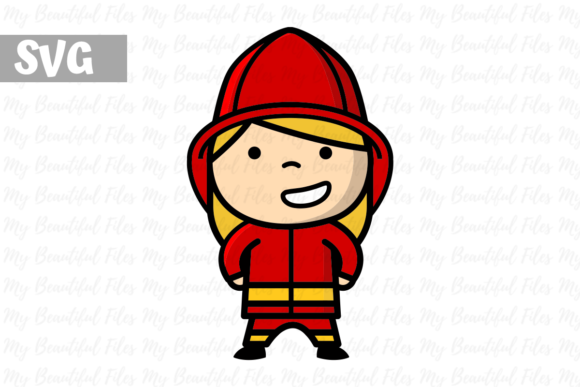 Download Free Firefighter Woman Icon Graphic By Mybeautifulfiles Creative for Cricut Explore, Silhouette and other cutting machines.