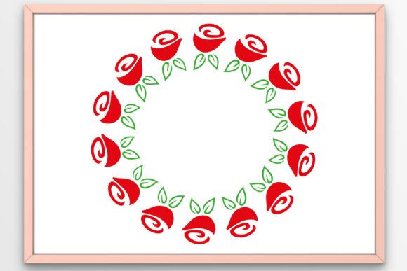 Print on Demand: Flowers Floral Wreath Roses Graphic Crafts By Tanja Dianova