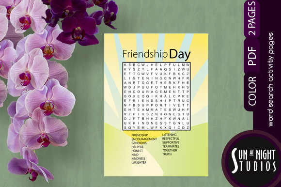 Friendship Day Word Search Activity Graphic Teaching Materials By Sun At Night Studios