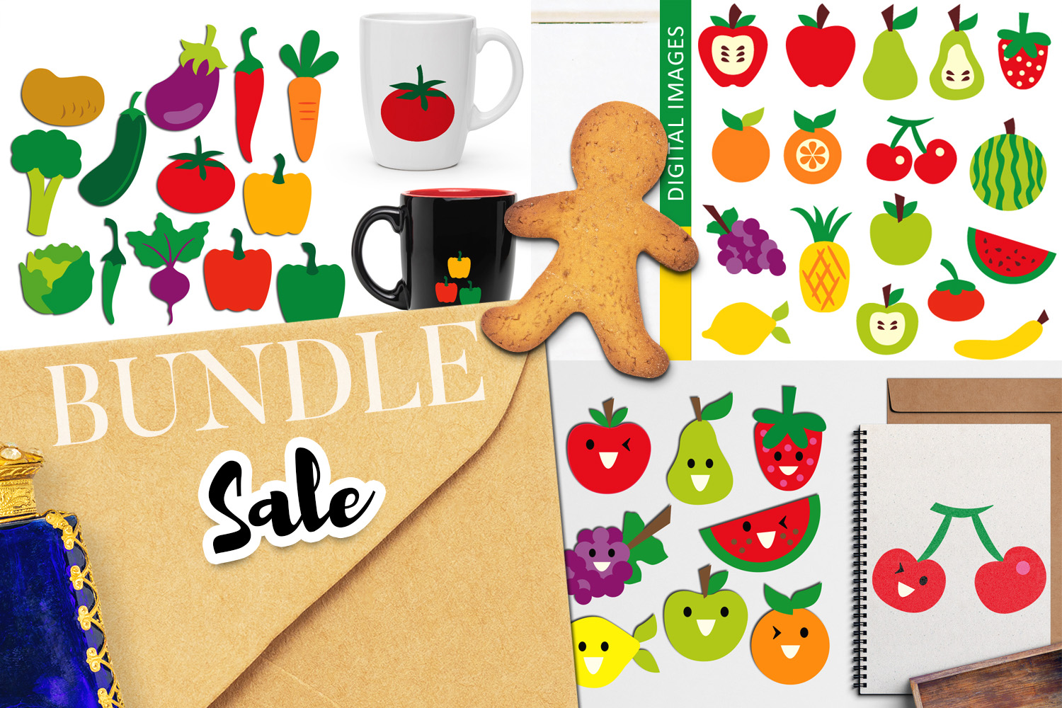 Download Free Fruits And Vegetables Bundle Graphic By Revidevi Creative Fabrica for Cricut Explore, Silhouette and other cutting machines.