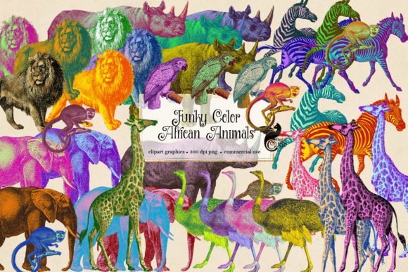 Print on Demand: Funky Colors African Animals Clipart Graphic Illustrations By Digital Curio - Image 1