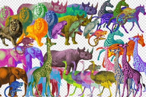 Print on Demand: Funky Colors African Animals Clipart Graphic Illustrations By Digital Curio - Image 2