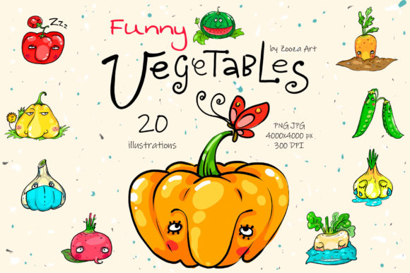 Print on Demand: Funny Vegetables Clip-art Illustrations Graphic Illustrations By Zooza Art