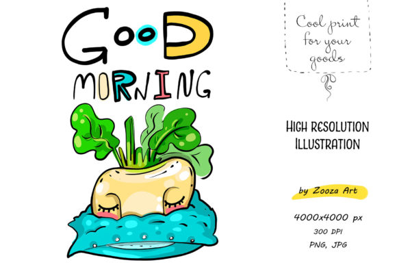 Print on Demand: Good Morning with Little Turnip Graphic Illustrations By Zooza Art