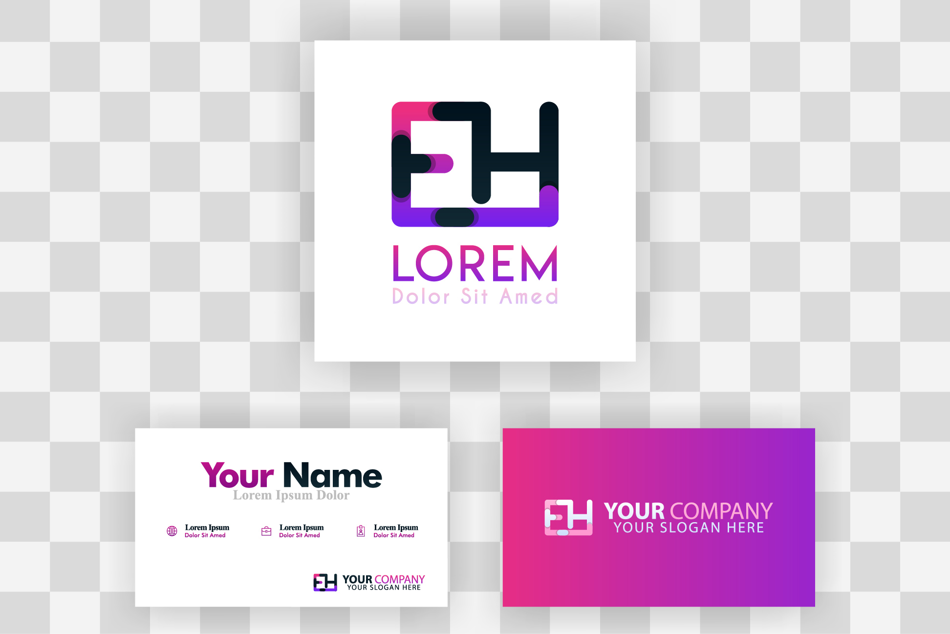 Download Free He Letter Logo And Card Template Graphic By Setiawanarief111 for Cricut Explore, Silhouette and other cutting machines.