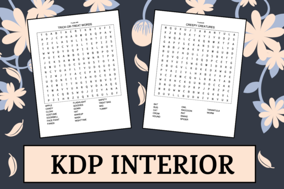 Print on Demand: Halloween Word Search | KDP Interior Grafik KPD Innenseiten von Hungry Puppy Studio