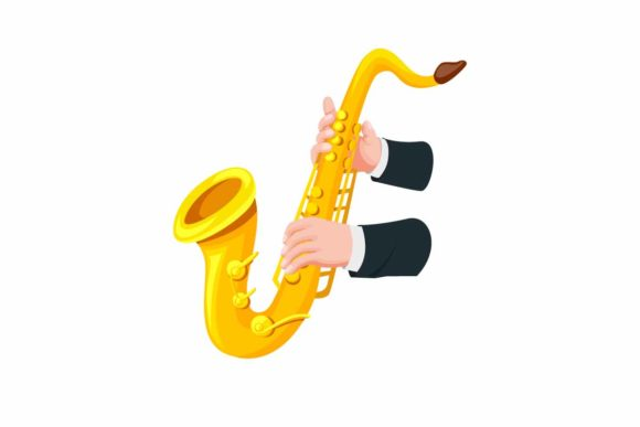 Download Free Hand Holding Playing Saxophone Cartoon Graphic By Aryo Hadi for Cricut Explore, Silhouette and other cutting machines.
