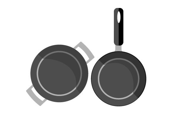 Download Free Illustration Of Two Aluminum Pans Graphic By Yapivector for Cricut Explore, Silhouette and other cutting machines.