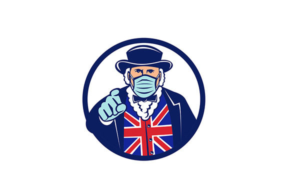 Download Free John Bull Wearing Surgical Mask Pointing Graphic By Patrimonio for Cricut Explore, Silhouette and other cutting machines.
