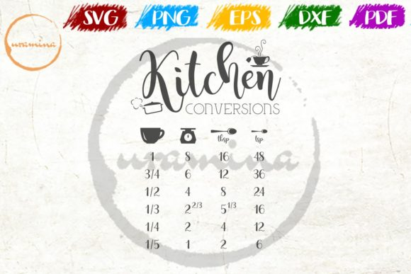 Download Free Kitchen Conversion Graphic By Uramina Creative Fabrica for Cricut Explore, Silhouette and other cutting machines.