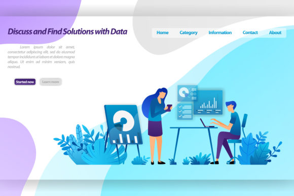 Download Free Landing Page Of Discuss Solutions Graphic By Setiawanarief111 for Cricut Explore, Silhouette and other cutting machines.