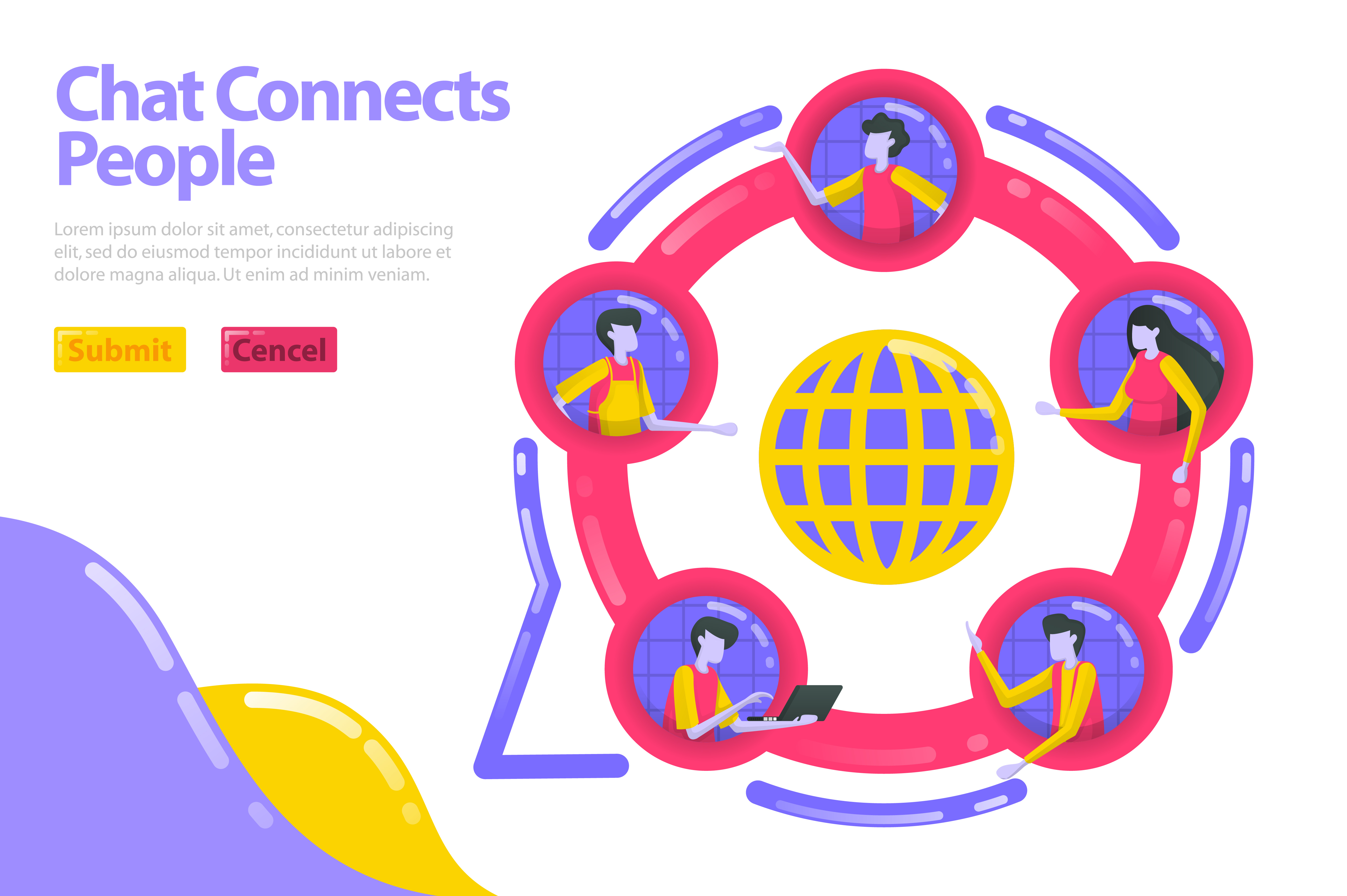 Download Free Landing Page Of Chat Connects People Graphic By Setiawanarief111 for Cricut Explore, Silhouette and other cutting machines.