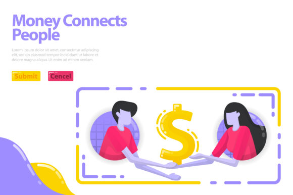 Download Free Landing Page Of Money Connects People Graphic By for Cricut Explore, Silhouette and other cutting machines.