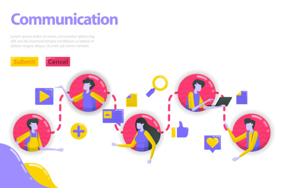 Print on Demand: Landing Page of People Communication Graphic Graphic Templates By setiawanarief111