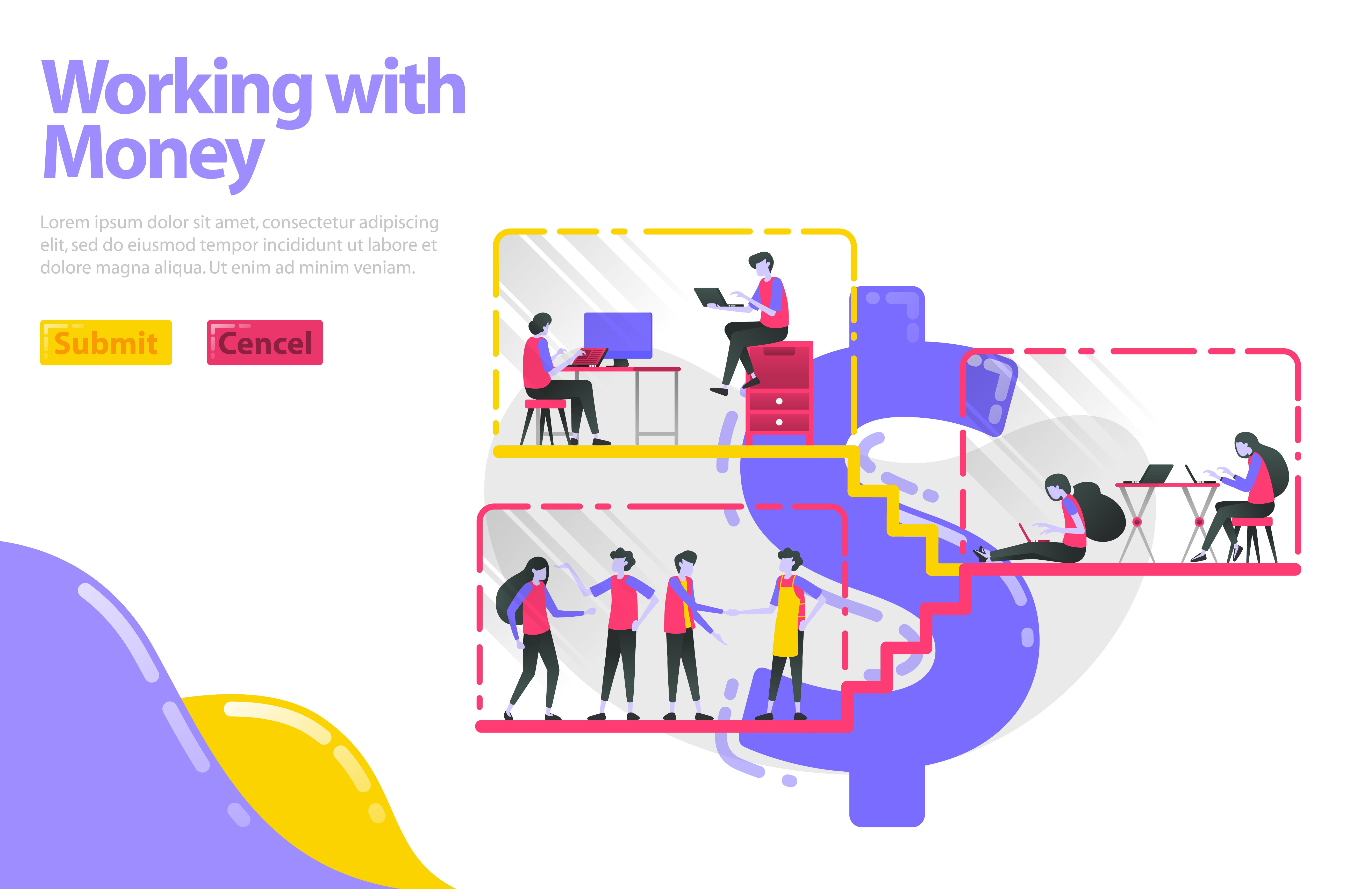 Download Free Landing Page Of Working With Money Graphic By Setiawanarief111 for Cricut Explore, Silhouette and other cutting machines.