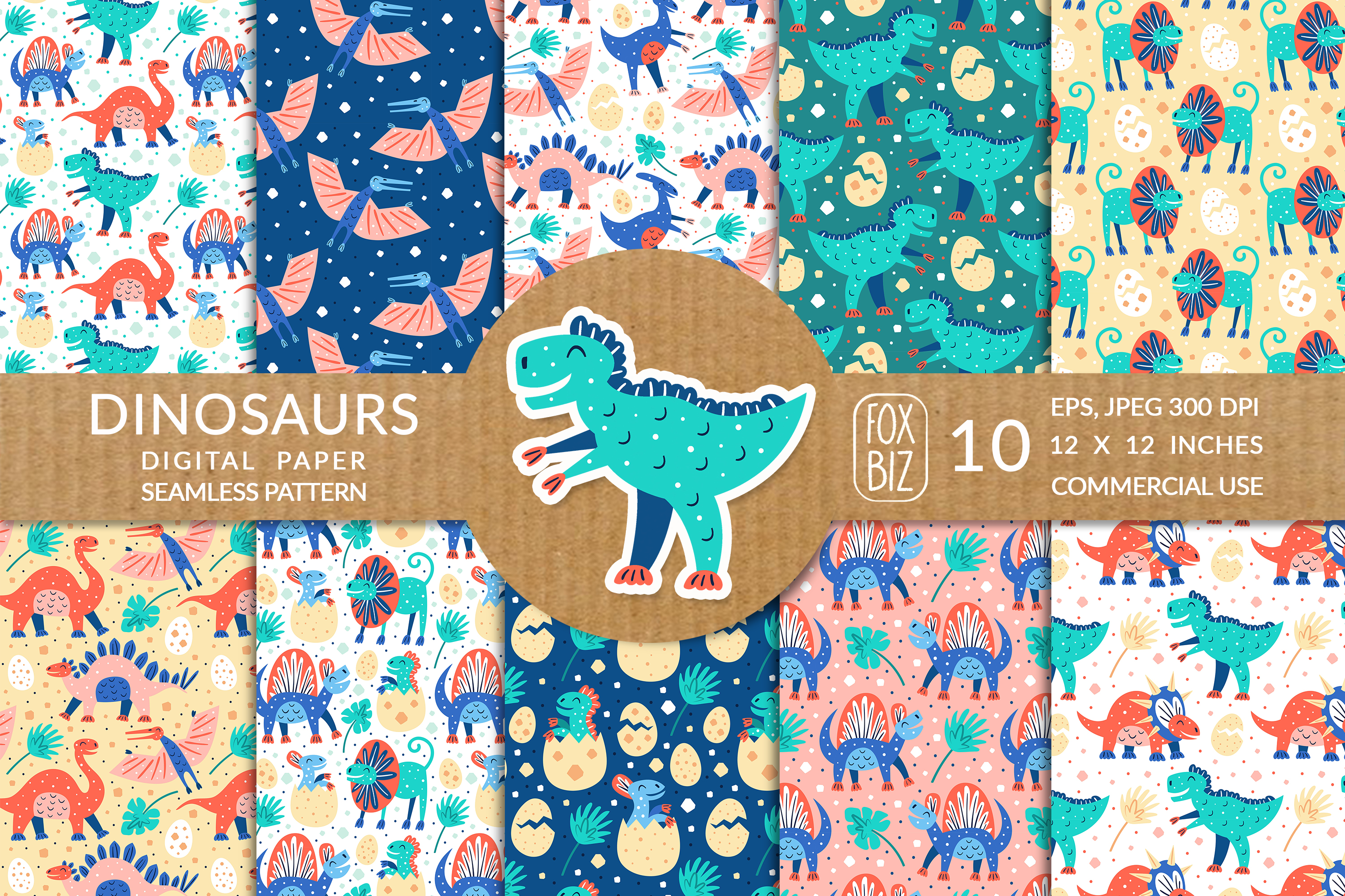 Download Free Little Dinosaurs Seamless Patterns Graphic By Foxbiz Creative for Cricut Explore, Silhouette and other cutting machines.