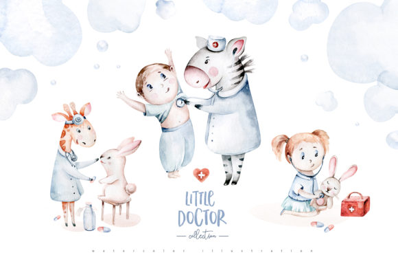 Little Doctor Cute Watercolor Collection Graphic Illustrations By kristinakvilis
