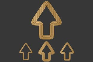 Download Free Metallic Arrow Icon Design Set Graphic By Davidzydd Creative for Cricut Explore, Silhouette and other cutting machines.