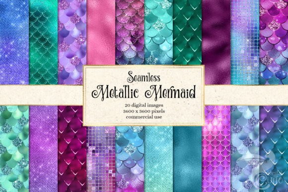 Download Free Metallic Mermaid Digital Paper Graphic By Digital Curio for Cricut Explore, Silhouette and other cutting machines.