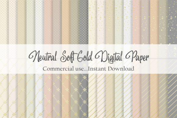 Print on Demand: Neutral and Soft Gold Digital Paper Graphic Patterns By Simply Paper Craft