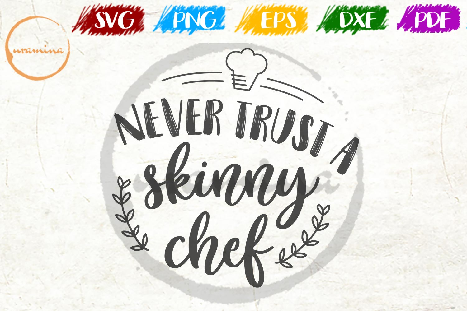 Download Free Never Trust A Skinny Chef Graphic By Uramina Creative Fabrica for Cricut Explore, Silhouette and other cutting machines.