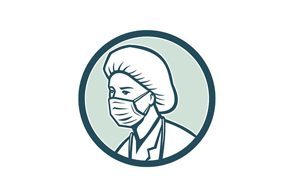 Download Free Nurse Wearing Surgical Mask Mascot Graphic By Patrimonio for Cricut Explore, Silhouette and other cutting machines.