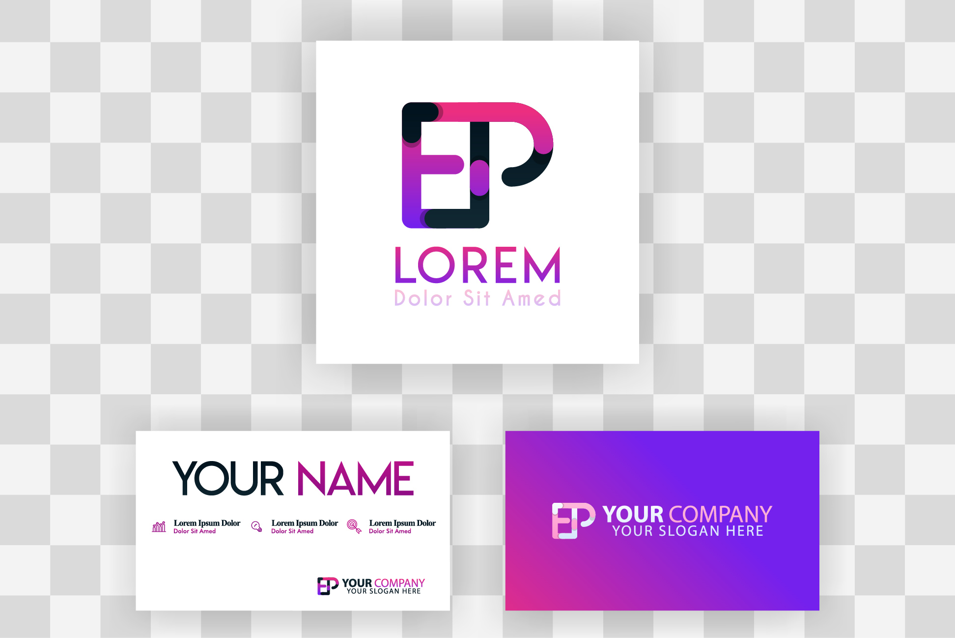 Download Free Pe Letter Logo And Card Template Graphic By Setiawanarief111 for Cricut Explore, Silhouette and other cutting machines.