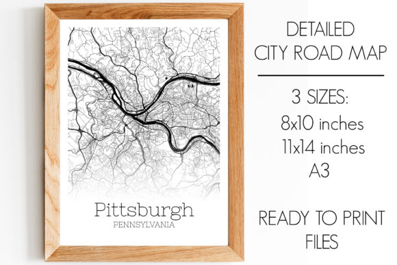 Print on Demand: Pittsburgh Pennsylvania City Map Graphic Photos By SVGExpress