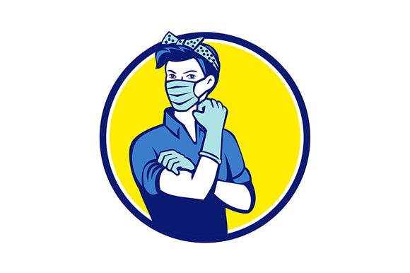 Download Free Rosie The Riveter Wearing Mask Circle Graphic By Patrimonio SVG Cut Files