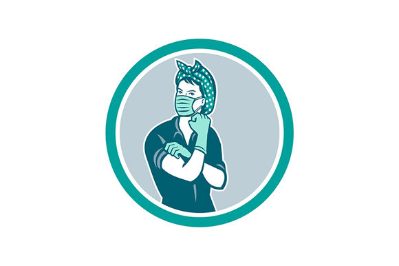 Download Free Rosie The Riveter Wearing Mask Mascot Graphic By Patrimonio for Cricut Explore, Silhouette and other cutting machines.