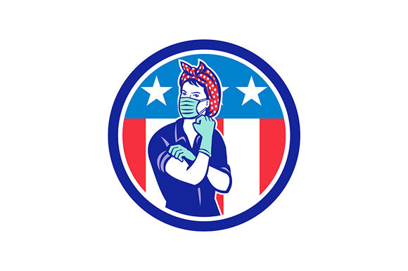 Download Free Rosie The Riveter Wearing Mask Usa Flag Graphic By Patrimonio for Cricut Explore, Silhouette and other cutting machines.