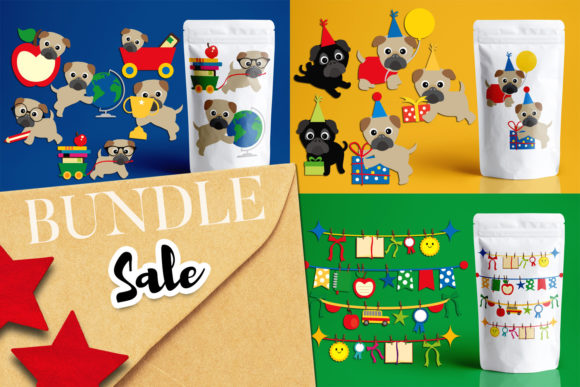 Print on Demand: School Pug Dogs Bundle Gráfico Ilustraciones Por Revidevi