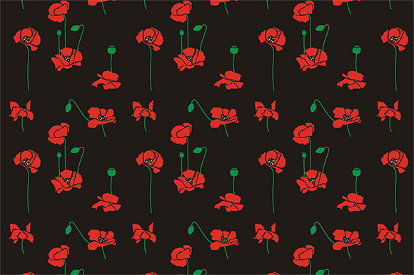 Set Red Poppies Flowers Vector Pattern Graphic By Embart