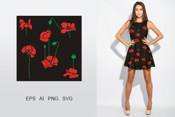 Download Free Set Red Poppies Flowers Vector Pattern Graphic By Embart for Cricut Explore, Silhouette and other cutting machines.