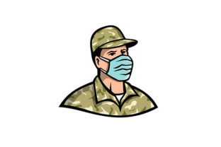 Download Free Soldier Wearing Mask Mascot Graphic By Patrimonio Creative Fabrica for Cricut Explore, Silhouette and other cutting machines.