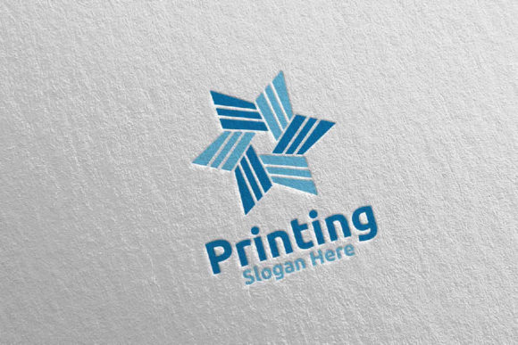 Download Free Star Printing Company Logo Design 22 Graphic By Denayunecf for Cricut Explore, Silhouette and other cutting machines.