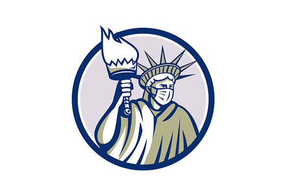 Download Free Statue Of Liberty Wearing Surgical Mask Graphic By Patrimonio for Cricut Explore, Silhouette and other cutting machines.