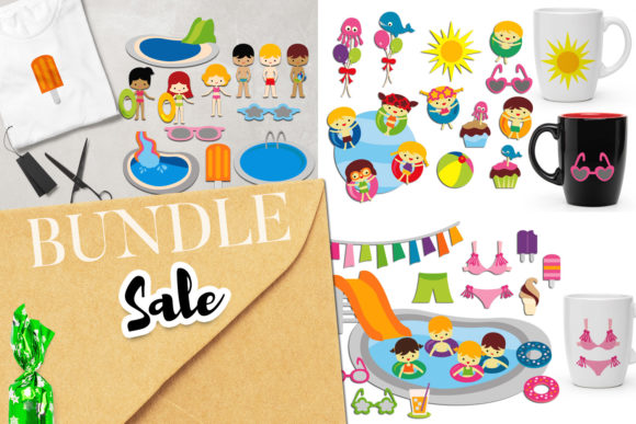 Print on Demand: Summer Pool Party Bundle Graphic Illustrations By Revidevi