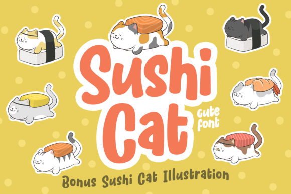 Print on Demand: Sushi Cat Display Font By Orenari