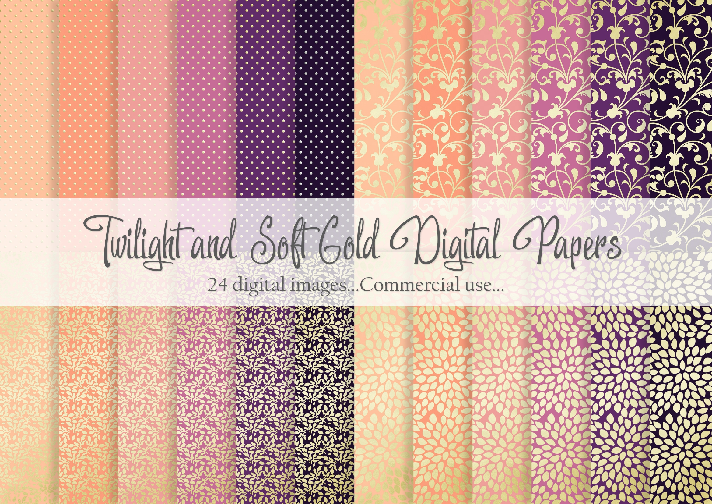 Download Free Twilight And Soft Gold Digital Paper Graphic By Simply Paper SVG Cut Files