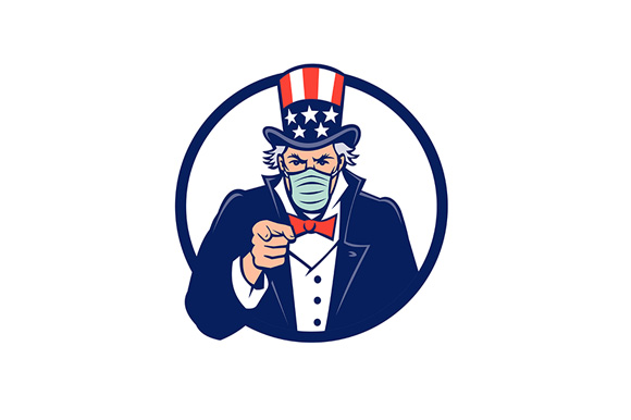 Download Free Uncle Sam Wearing Mask Pointing Mascot Graphic By Patrimonio for Cricut Explore, Silhouette and other cutting machines.