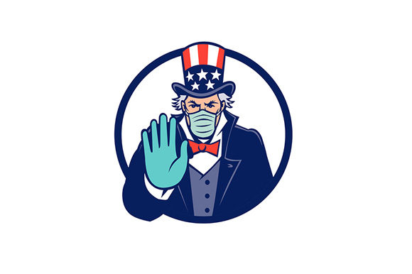 Download Free Uncle Sam Wearing Mask Stop Hand Signal Graphic By Patrimonio for Cricut Explore, Silhouette and other cutting machines.