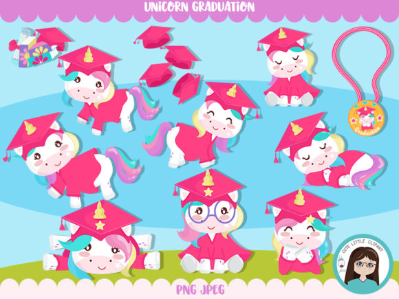 Download Free Unicorn Gradution Students Cliparts Graphic By Cutelittleclipart for Cricut Explore, Silhouette and other cutting machines.