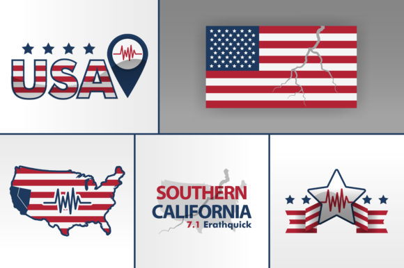 Print on Demand: United States Logo for Earthquake Graphic Graphic Templates By setiawanarief111