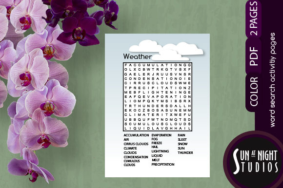 Download Free Weather Word Search Graphic By Sun At Night Studios Creative for Cricut Explore, Silhouette and other cutting machines.