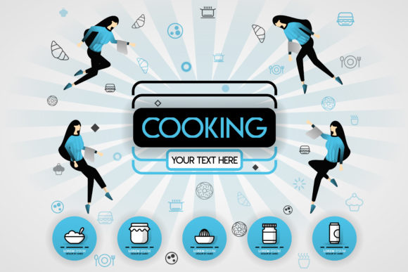 Download Free Cover Of Cooking Book And Food Graphic By Setiawanarief111 for Cricut Explore, Silhouette and other cutting machines.