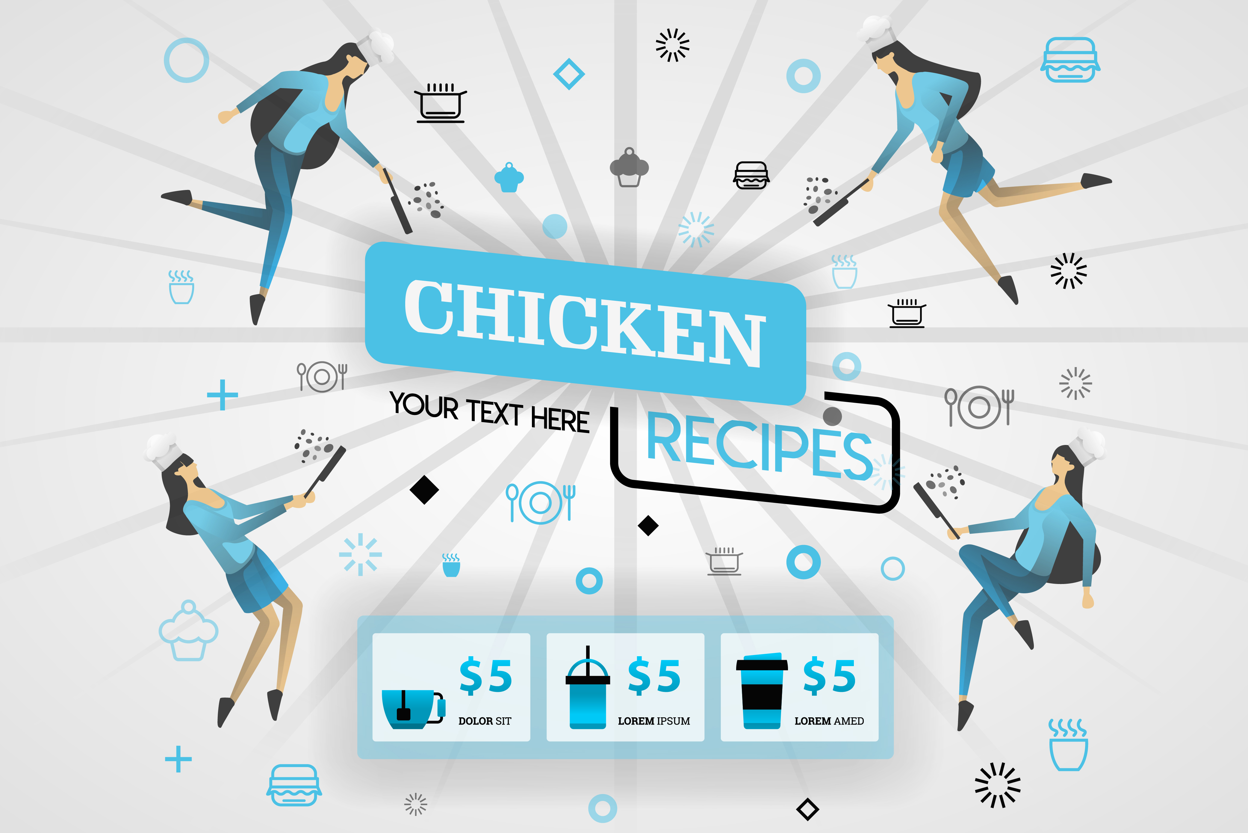 Download Free Cover Of Chicken Recipes Recipes Book Graphic By for Cricut Explore, Silhouette and other cutting machines.