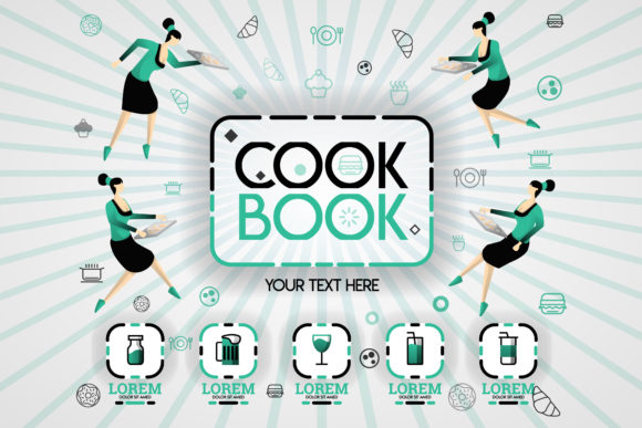 Download Free Cover Of Cookbook Recipes And Food Book Graphic By for Cricut Explore, Silhouette and other cutting machines.