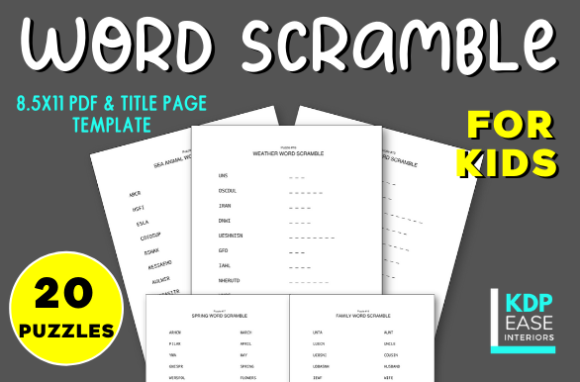Print on Demand: 20 Word Scramble Puzzles for Kids Vol.1 Graphic KDP Interiors By KDP EASE